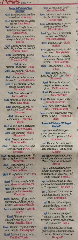 Messaggi di auguri per la Festa della mamma pubblicati sul Giornale di Merate del 16/05/17